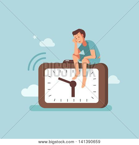 Vector illustration concept of awakening alarm clock. The alarm of a man woke up early in the morning flat design