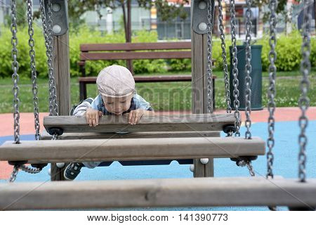 Toddler Climbing Wooden Obstacle