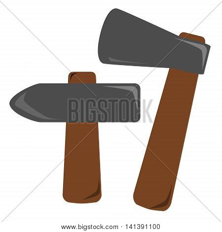 Set of DIY tools. Old hammer and axe in simple design. Isolated vector illustration on white background.