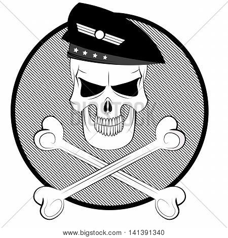 Black and white cartoon commando skull in beret with crossbones. Vector illustration. Easy to edit