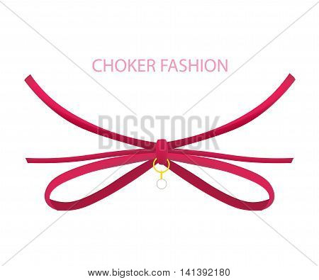 Realistic red Modern Necklace - Choker. Vector Illustration