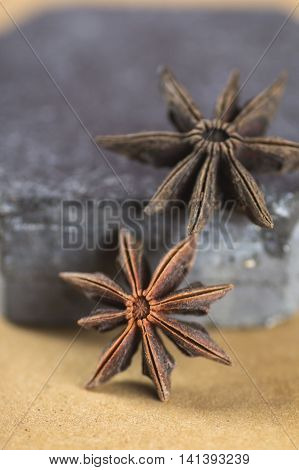Star anise spice fruits and seeds. closeup