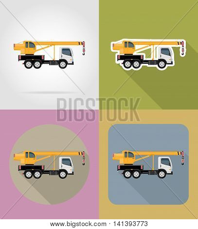 truck crane for construction flat icons vector illustration isolated on background