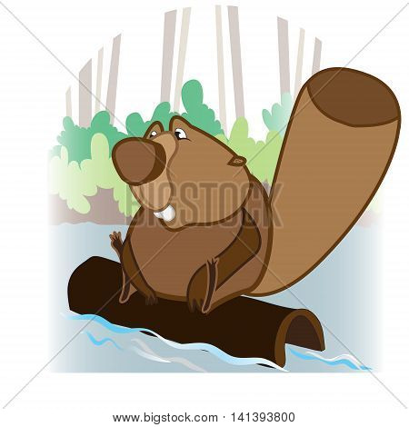 This file represents a beaver floating on a trunk. In the background there is water bushes and trees.