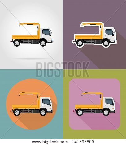 truck with a small crane for construction flat icons vector illustration isolated on background