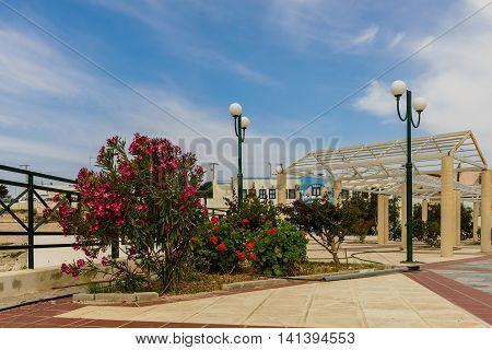 The main square of Kefalos village, Kos island, Dodecanese, Greece.