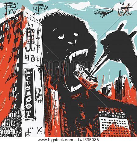 Big Gorilla destroys City Vector Illustration eps 8 file format