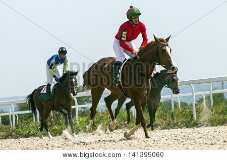 Horse race for the traditional prize Big Letni in Pyatigorsk,the largest in Russia.
