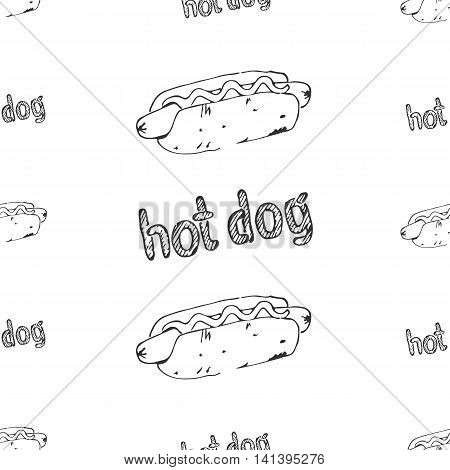 Hot dog seamless pattern. Fast food texture. Continuous background from hand drawn sketches of hotdogs with ketchup mustard or mayonnaise. EPS8 vector illustration with pattern swatch included.