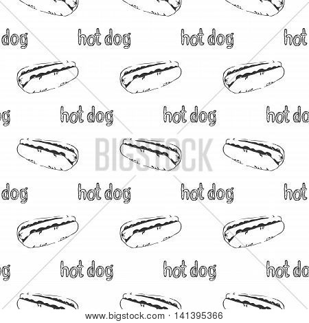 Hand drawn hotdogs seamless pattern. Fastfood texture. Sketchy continuous background of hot dogs with mustard mayonnaise and vegetables. EPS8 vector illustration with pattern swatch included.