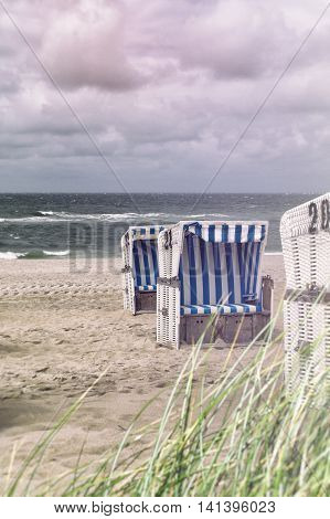 beach chair on the north sea vintage