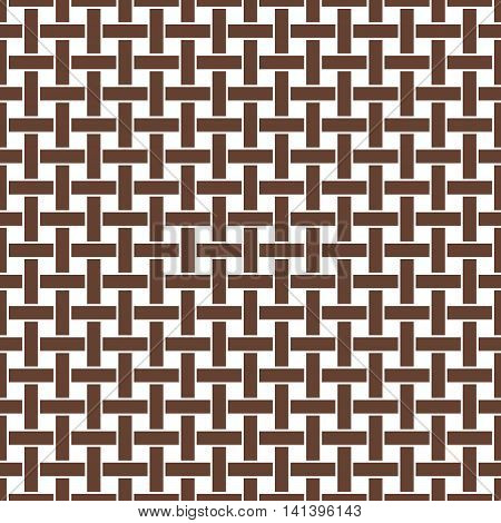 Wicker seamless pattern. Basket weave repeating texture. Braiding continuous background of vertical and horizontal intersecting perpendicular stripes. Geometric vector illustration in brown tones.