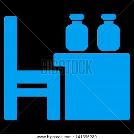 Apothecary Table vector icon. Style is flat symbol, blue color, rounded angles, black background.