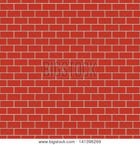 Red brick wall seamless texture. Repeating pattern of brickwork. Continuous bricks background. Simple vector illustration with bricklaying.