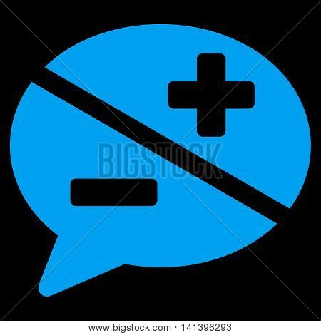 Arguments vector icon. Style is flat symbol, blue color, rounded angles, black background.