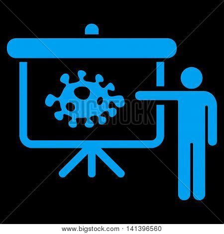 Bacteria Lecture vector icon. Style is flat symbol, blue color, rounded angles, black background.