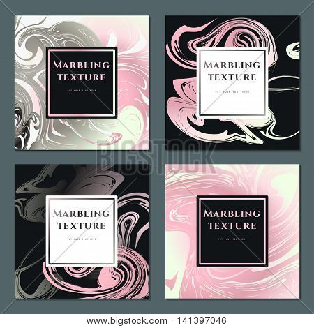 Vector Illustration of Marbling Texture  for Design, Website, Background, Banner. Ink Liquid Element Template. Watercolor Pattern. Pink, White, Silver, Grey greeting card