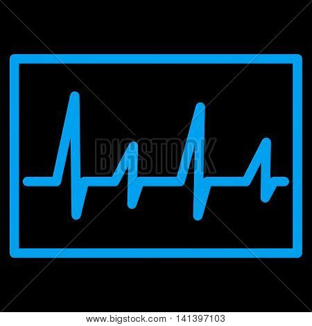 Cardiogram vector icon. Style is flat symbol, blue color, rounded angles, black background.