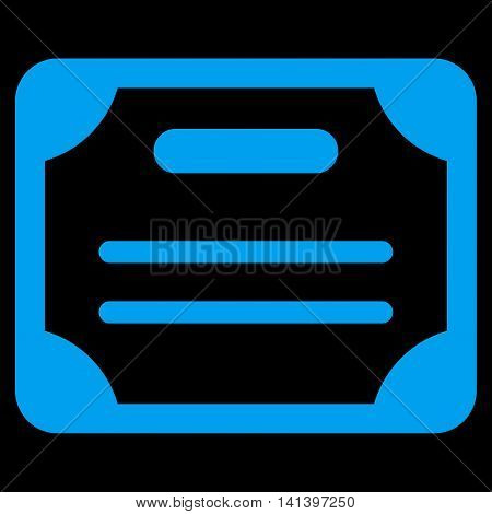 Certificate vector icon. Style is flat symbol, blue color, rounded angles, black background.