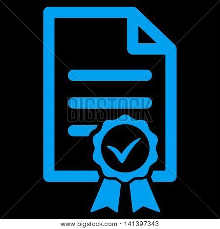 Certified vector icon. Style is flat symbol, blue color, rounded angles, black background.