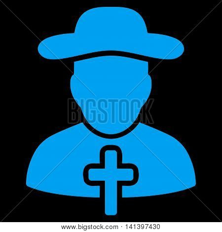 Cleric vector icon. Style is flat symbol, blue color, rounded angles, black background.