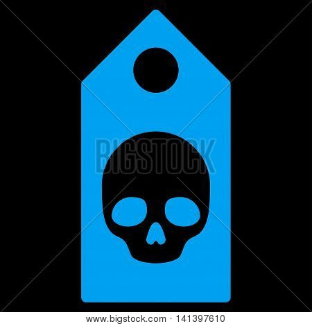 Death Coupon vector icon. Style is flat symbol, blue color, rounded angles, black background.