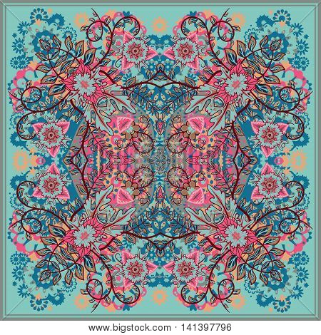 authentic silk neck scarf or kerchief square pattern design in eastern style for print on fabric, vector illustration. Blue pink beige fantasy flower on light blue background.