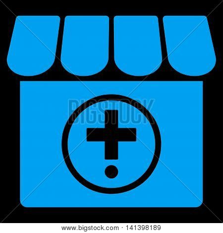 Drugstore vector icon. Style is flat symbol, blue color, rounded angles, black background.