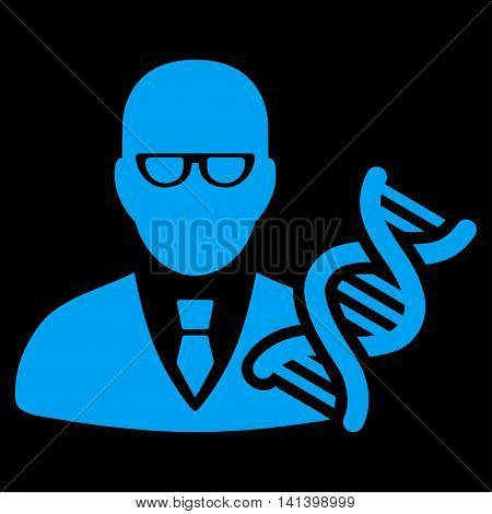 Genetic Engineer vector icon. Style is flat symbol, blue color, rounded angles, black background.