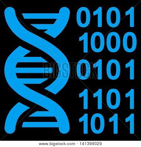 Genome Code vector icon. Style is flat symbol, blue color, rounded angles, black background.