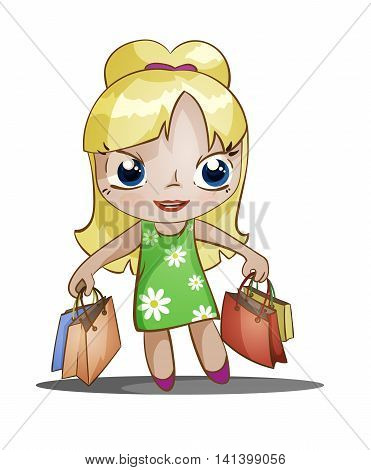 cute chibi girl with shopping packets of purchases, color vector illustration