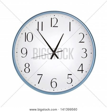 Five o'clock on a round clock face