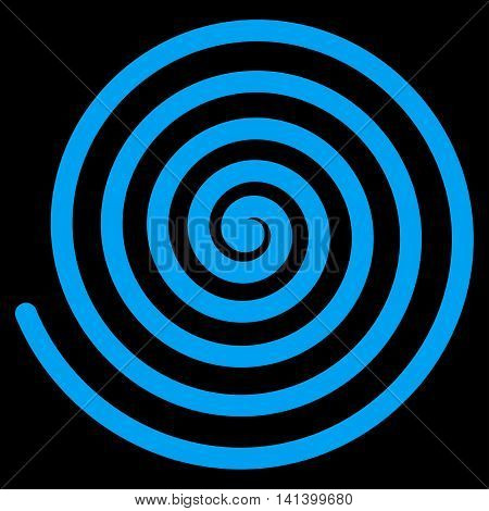 Hypnosis vector icon. Style is flat symbol, blue color, rounded angles, black background.