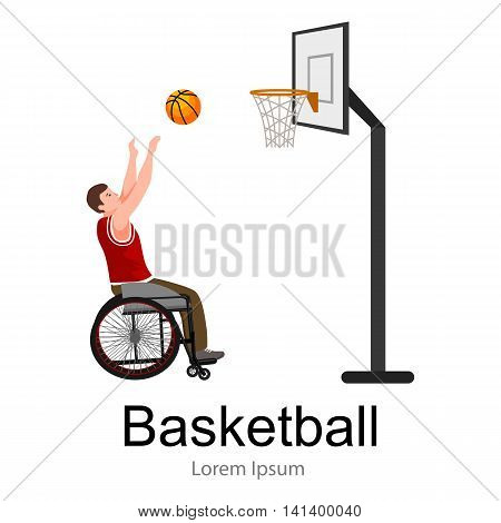 Disabled people On Wheelchair Play basketball for handicapped, disability sport vector illustration