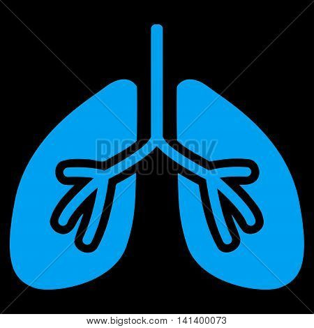 Lungs vector icon. Style is flat symbol, blue color, rounded angles, black background.