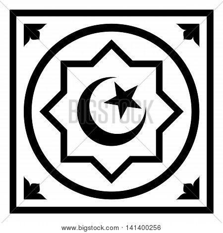 Symbol of Islam -- star and crescent in the octagon. Flat icon, isolated vector illustration for apps and websites