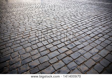 Close-up view of paving stone at the Red Square in Moscow