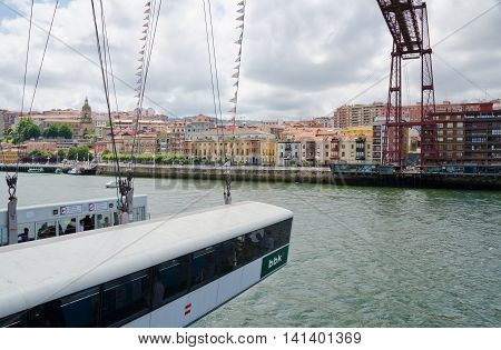 GETXO, near BILBAO. 27th July 2016. A view of the capsule under the Viscaya transporter bridge. The bridge has been a huge tourist draw to the Getxo suburb of Bilbao.
