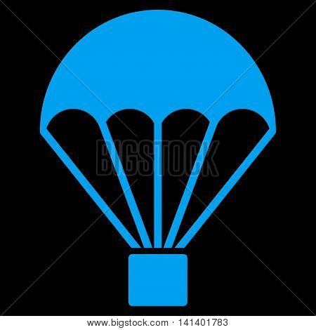 Parachute vector icon. Style is flat symbol, blue color, rounded angles, black background.
