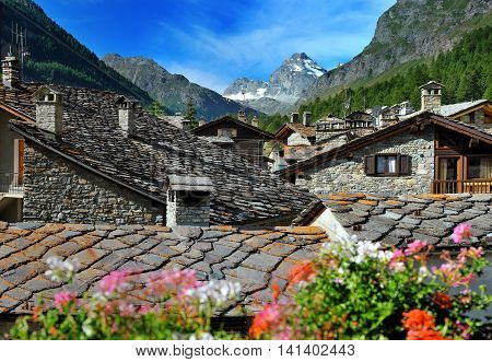 view on alps town Rhemes Notre Dame Valle d'Aosta Italy