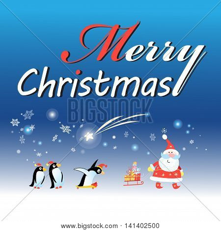 Bright Christmas card with Santa Claus and a penguin on a blue background