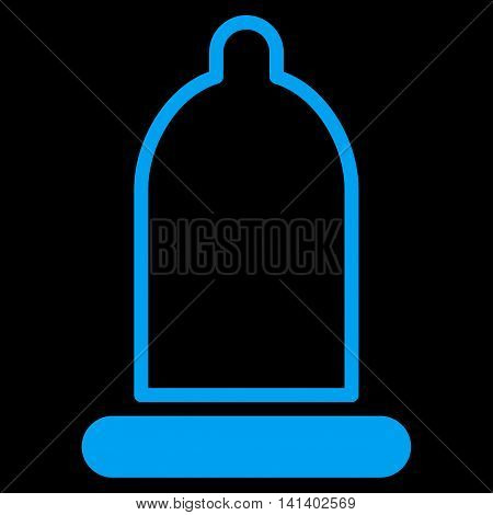 Preservative vector icon. Style is flat symbol, blue color, rounded angles, black background.