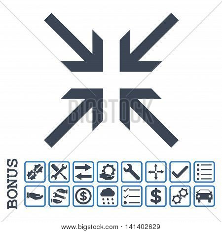 Collide Arrows icon with bonus pictograms. Vector style is flat iconic symbol, smooth blue colors, white background. Bonus style is bicolor square rounded frames with symbols inside.