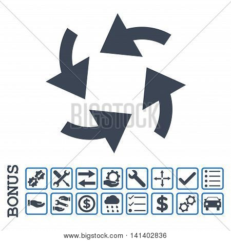 Cyclone Arrows icon with bonus pictograms. Vector style is flat iconic symbol, smooth blue colors, white background. Bonus style is bicolor square rounded frames with symbols inside.