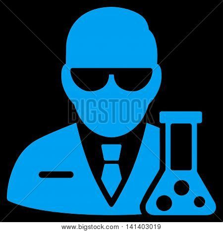 Scientist vector icon. Style is flat symbol, blue color, rounded angles, black background.