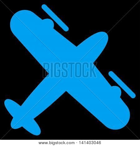 Screw Aeroplane vector icon. Style is flat symbol, blue color, rounded angles, black background.