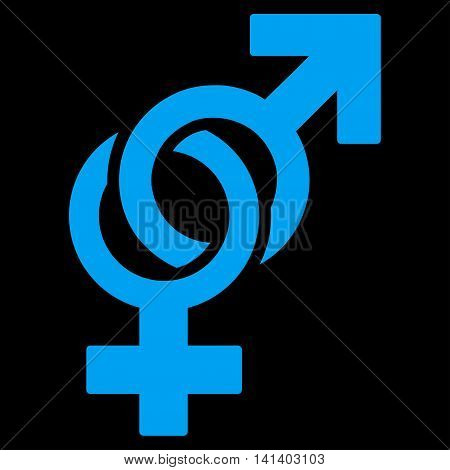 Sexual Symbols vector icon. Style is flat symbol, blue color, rounded angles, black background.
