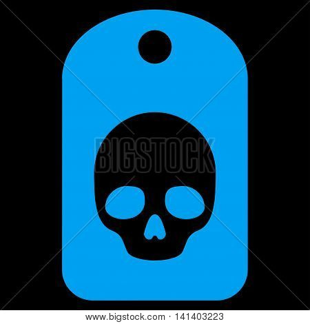 Skull Label vector icon. Style is flat symbol, blue color, rounded angles, black background.