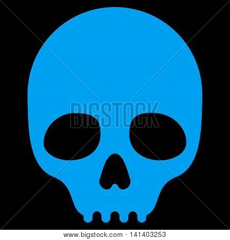 Skull vector icon. Style is flat symbol, blue color, rounded angles, black background.