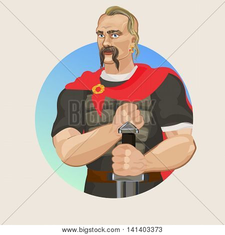 Svetoslav I. historical character in vector The ancient Rusich and armor with sword